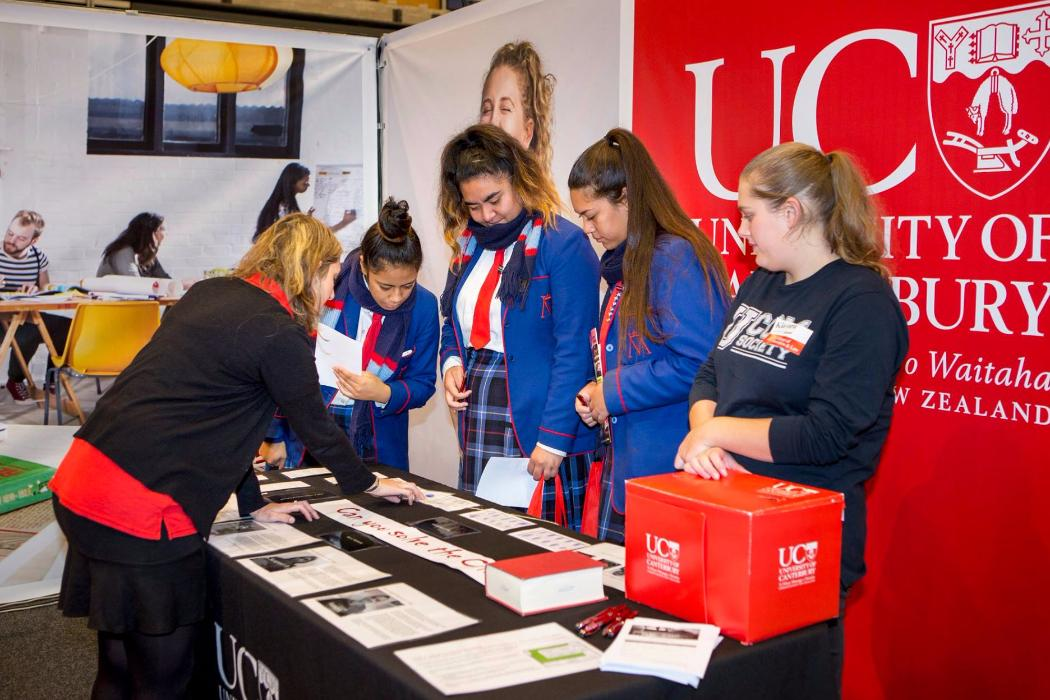 school students at UC outreach event
