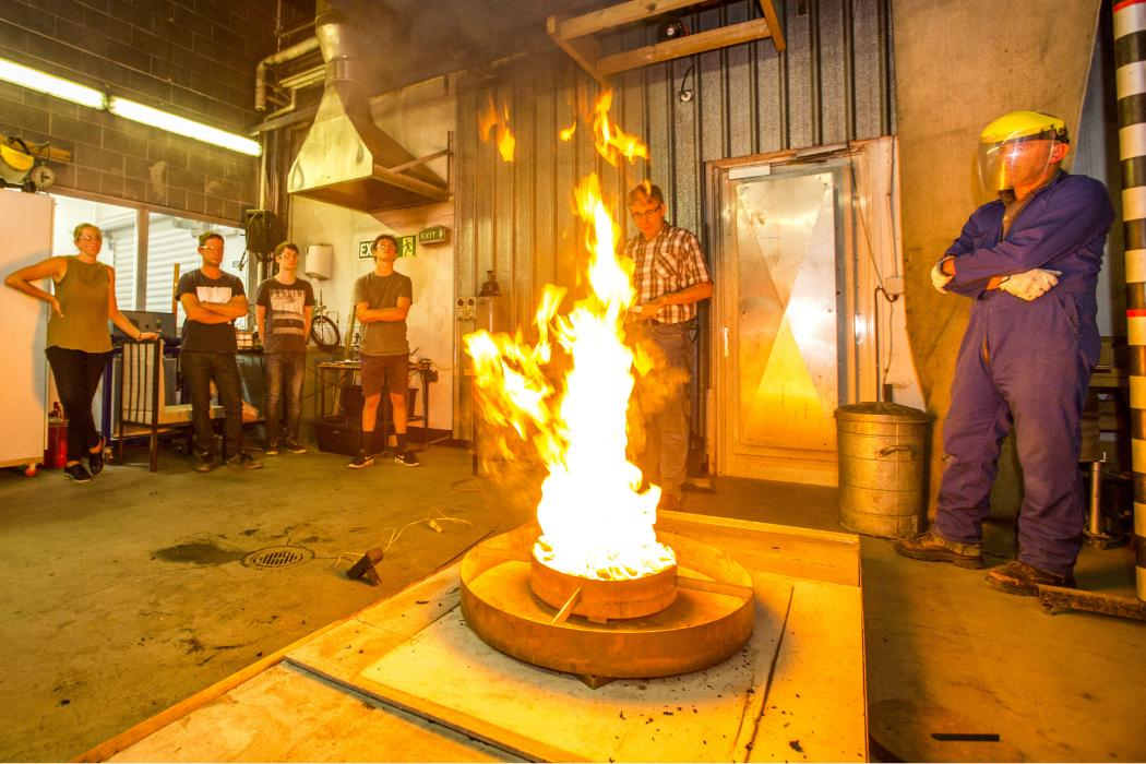fire engineering  students in workshop