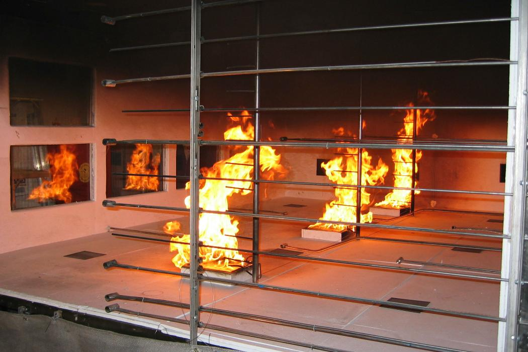 fire experiment blocked by metal safety cage