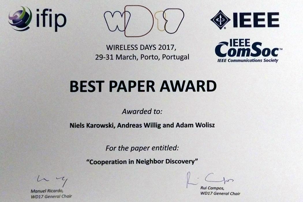 Assoc.Prof. Willig wins Best Paper award