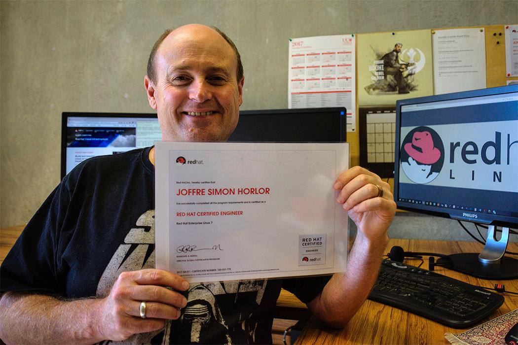 Joffre Horlor with RHCE certificate