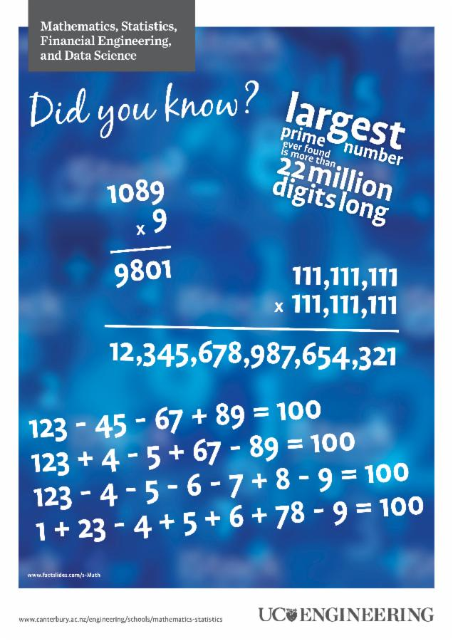 Maths and stats poster - largest number