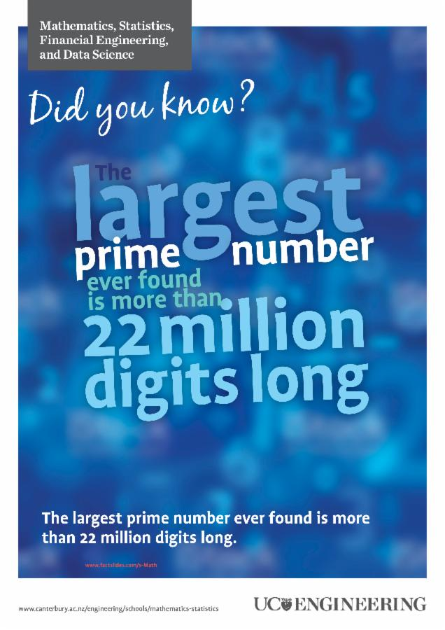 Maths and stats poster - Largest prime number