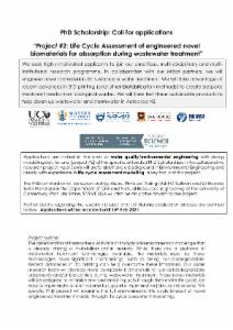 Life Cycle Assessment of engineered novel biomaterials for absorption during wastewater treatment