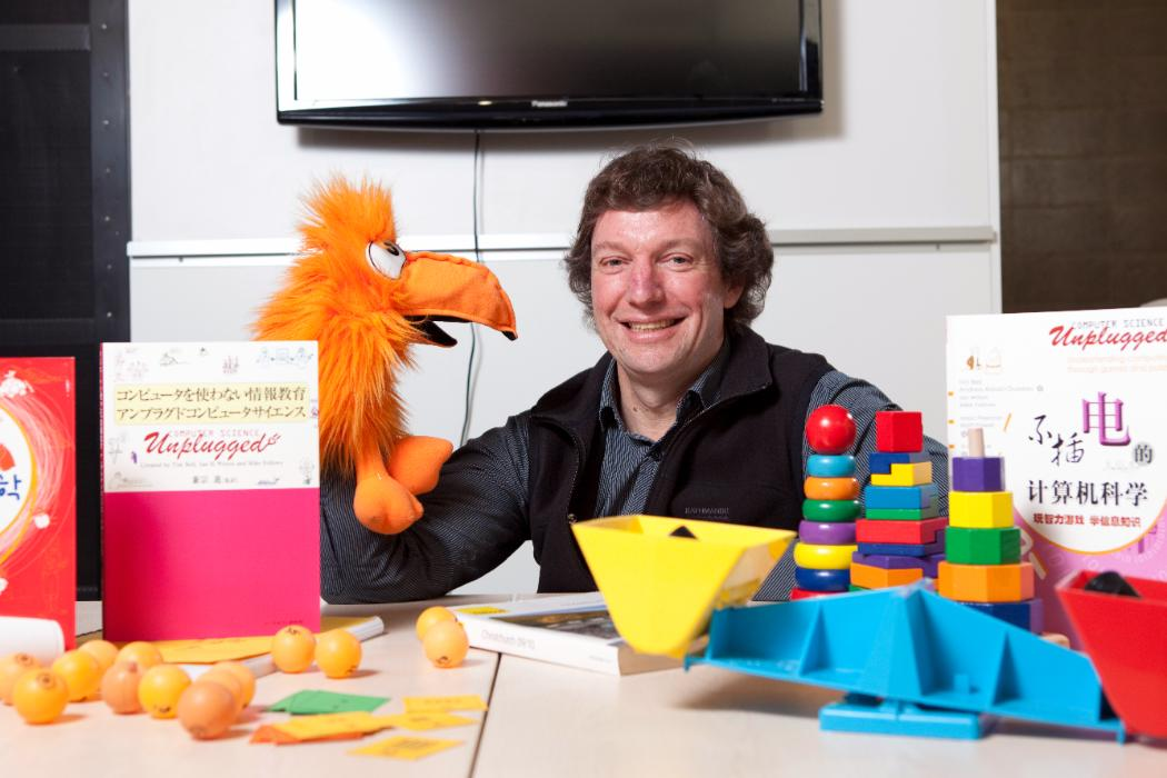 Tim Bell with Computer Science Unplugged props © University of Canterbury 2017