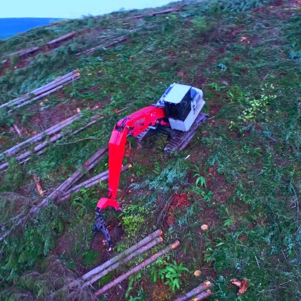 Shovel logging with flyover