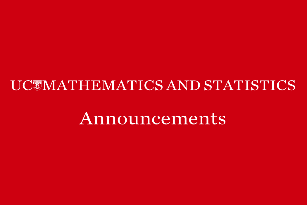 Announcements Mathematics and Statistics