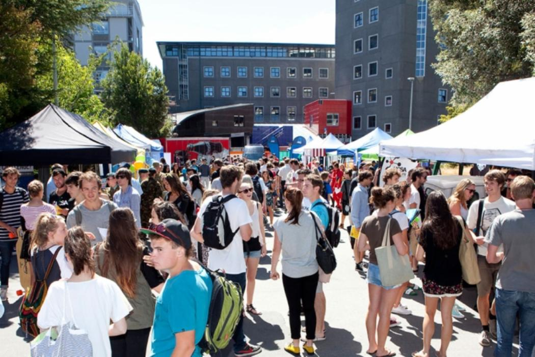 University students at orientation week during clubs day on campus