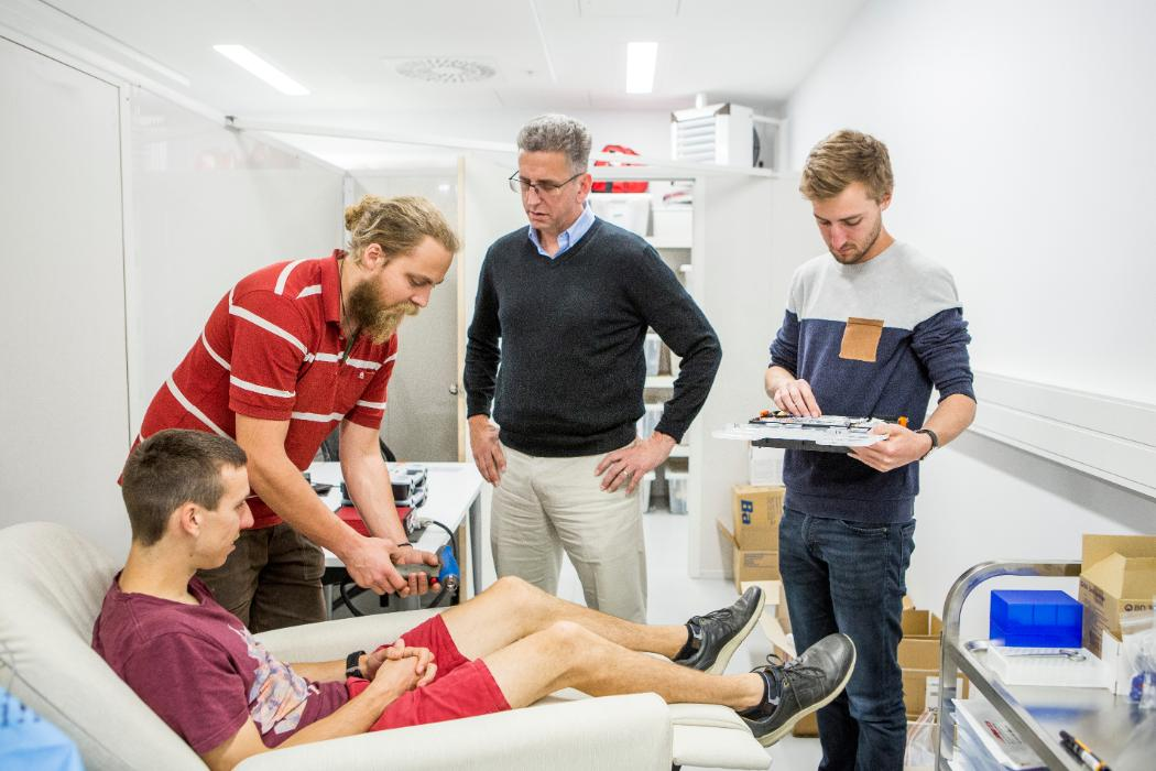 Prof Geoff Chase with PhD students