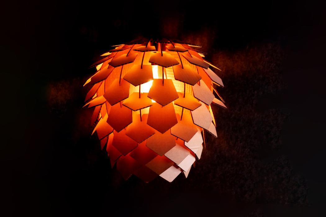 orange 3d printed lampshade