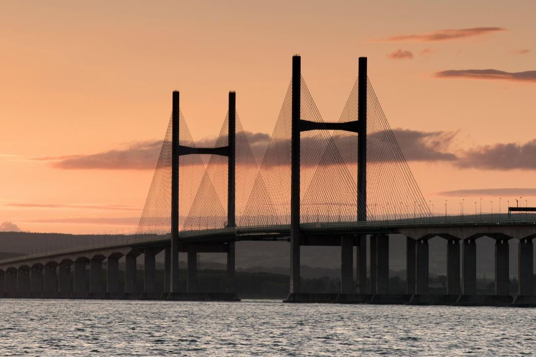 Severn bridge at sunset