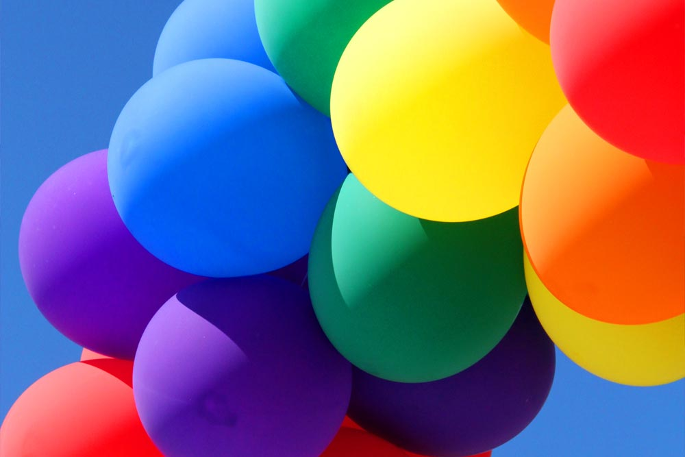 Different coloured balloons