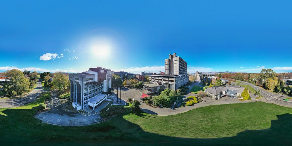 Aerial view of the University campus using a drone