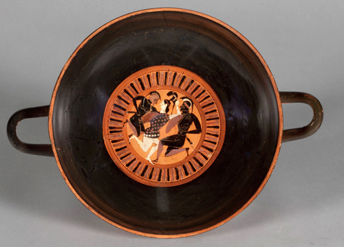 Black figure cup from the Logie Collection features two Greek Warriors battling with an Amazon