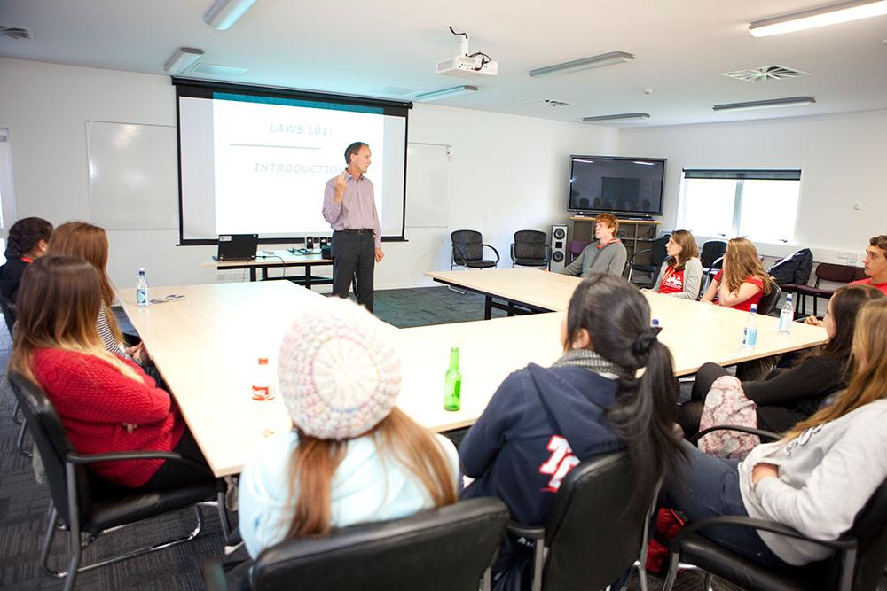 Law students lecture landscape