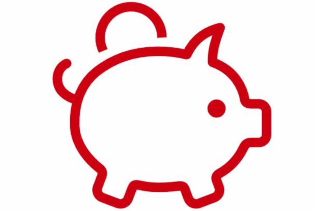 Red outline of piggy bank