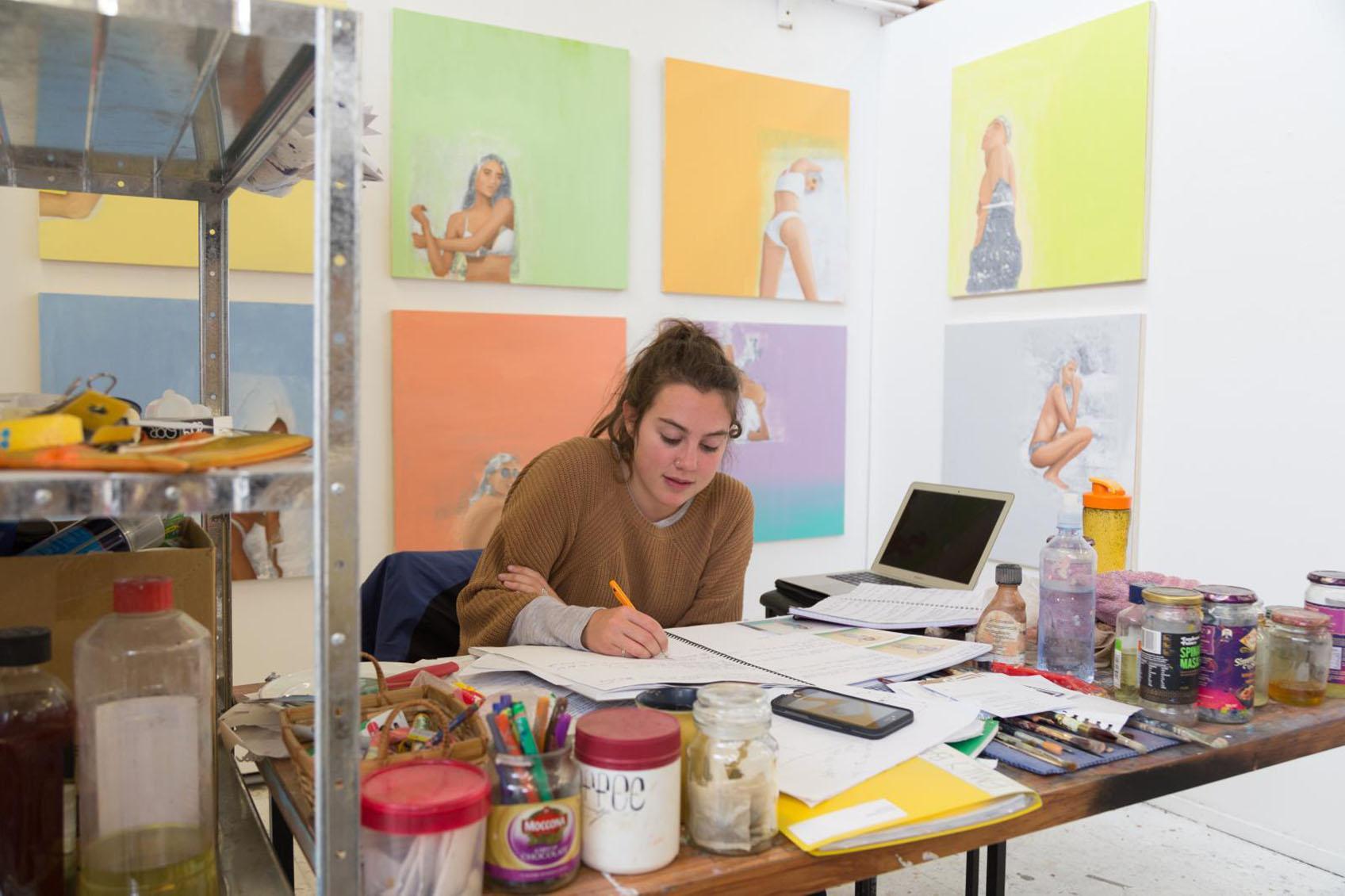 Fine Arts student in a studio