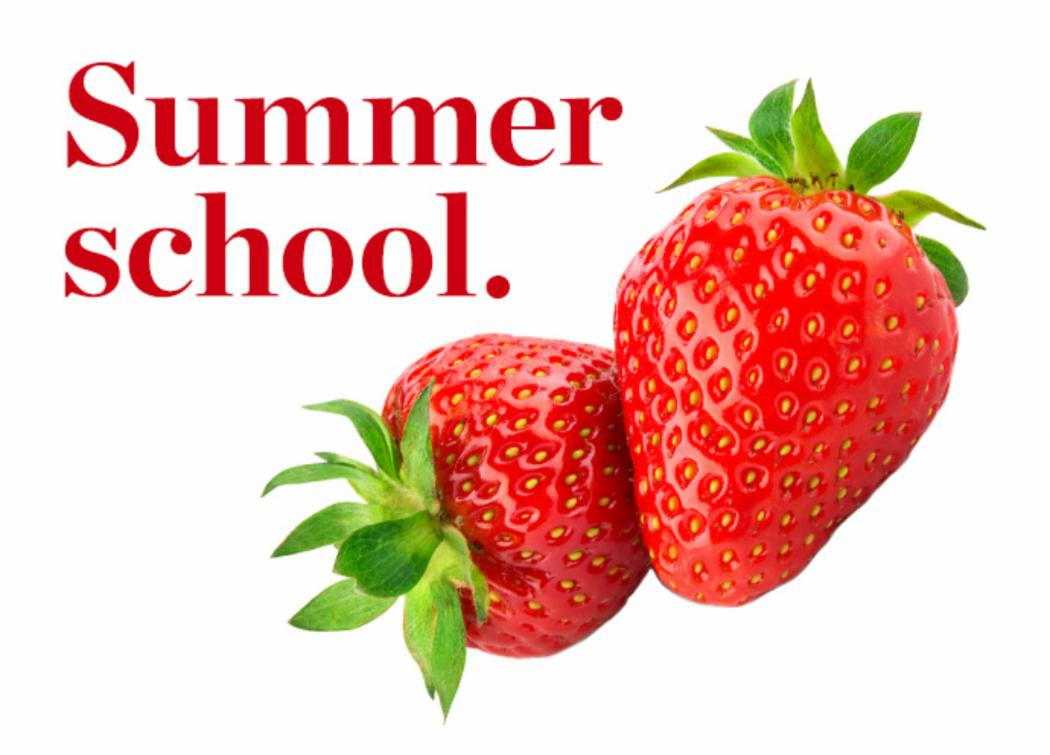 summer school logo with strawberries