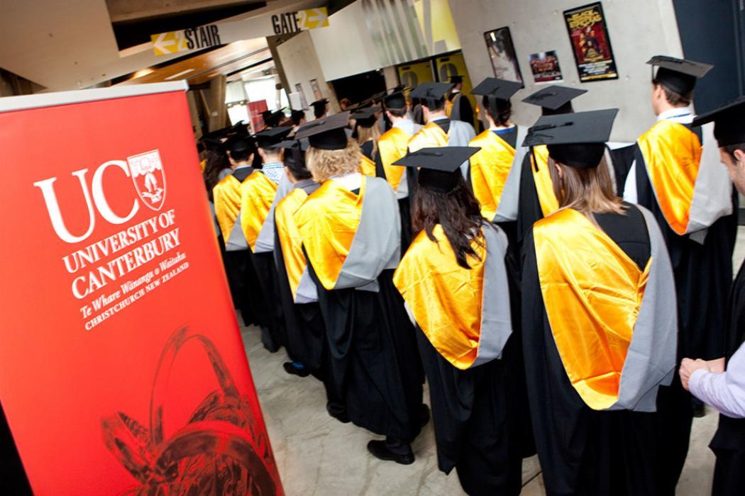Graduation ceremony cap gown landscape