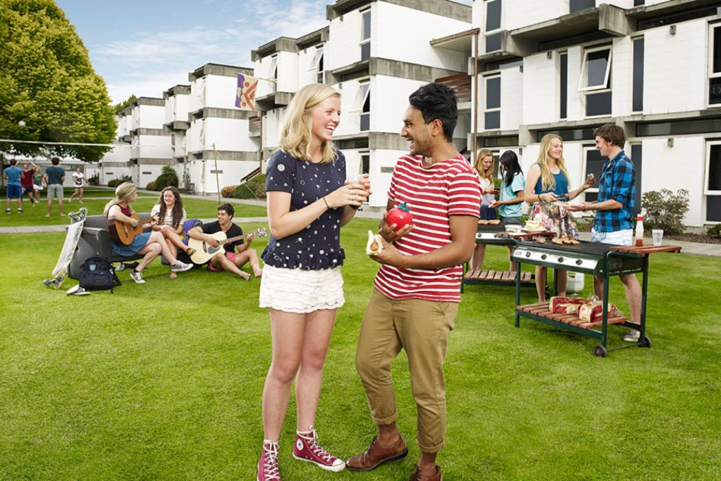 Banner halls accommodation students barbecue landscape