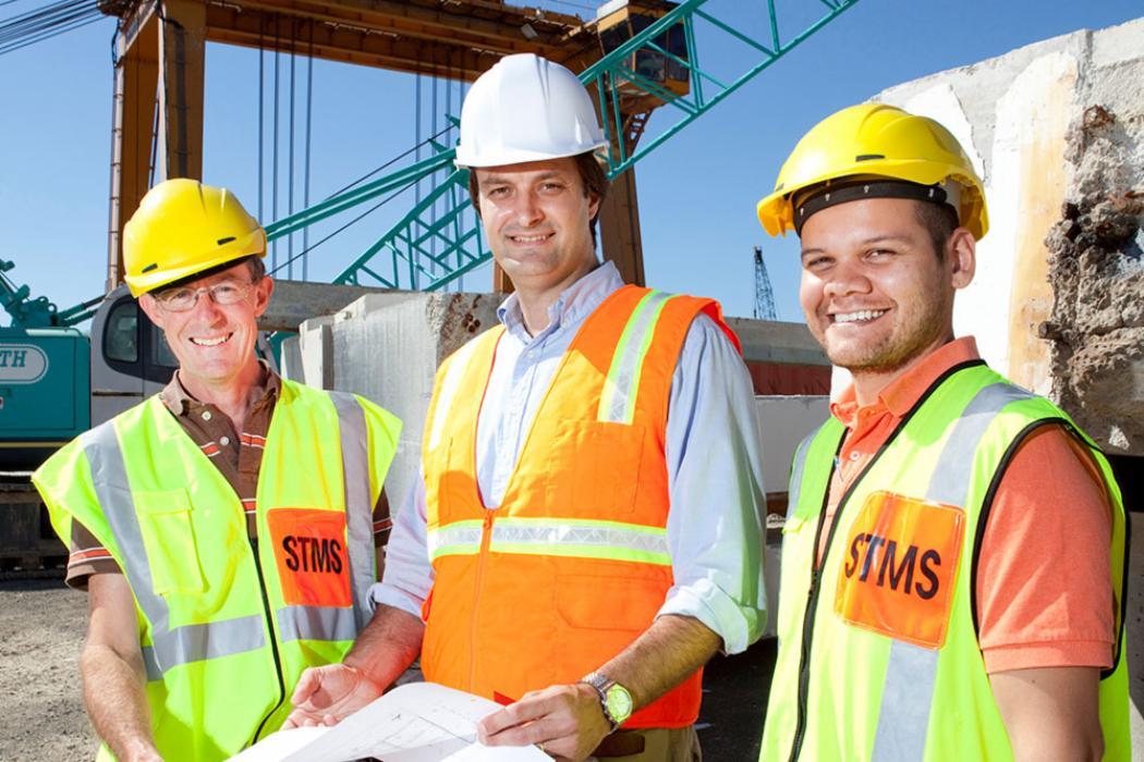 Engineering students lecturer building site landscape
