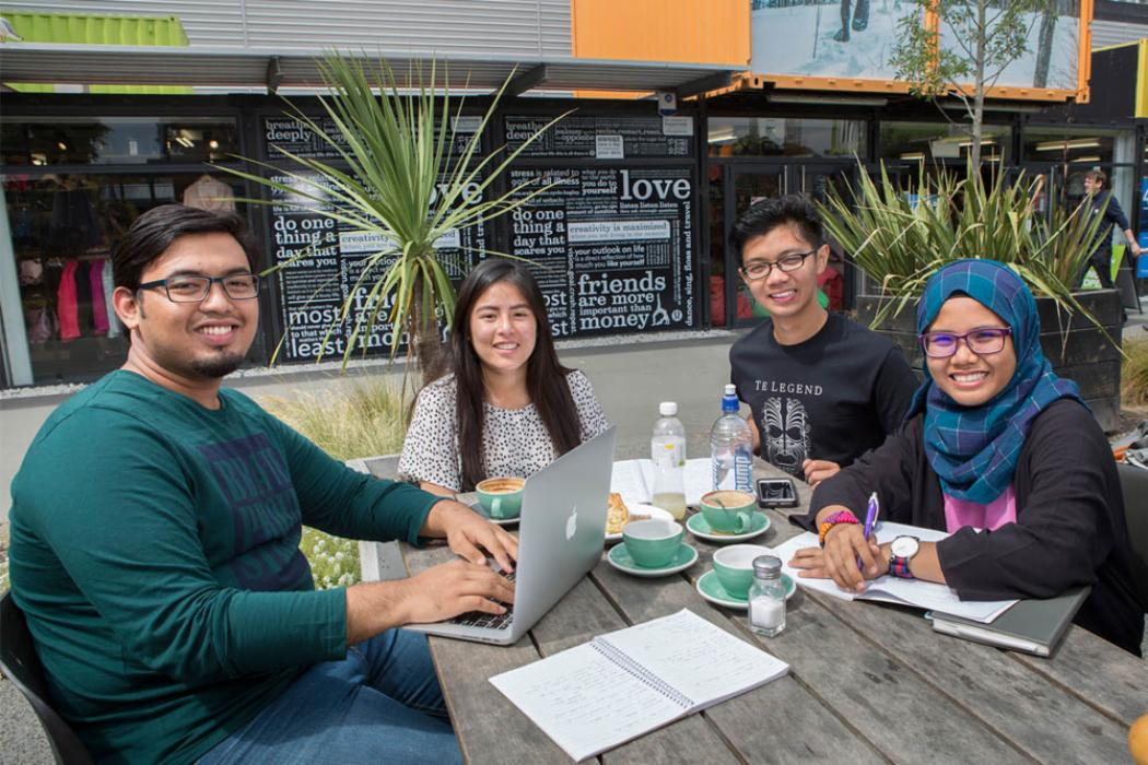Diverse Communities - students at container mall