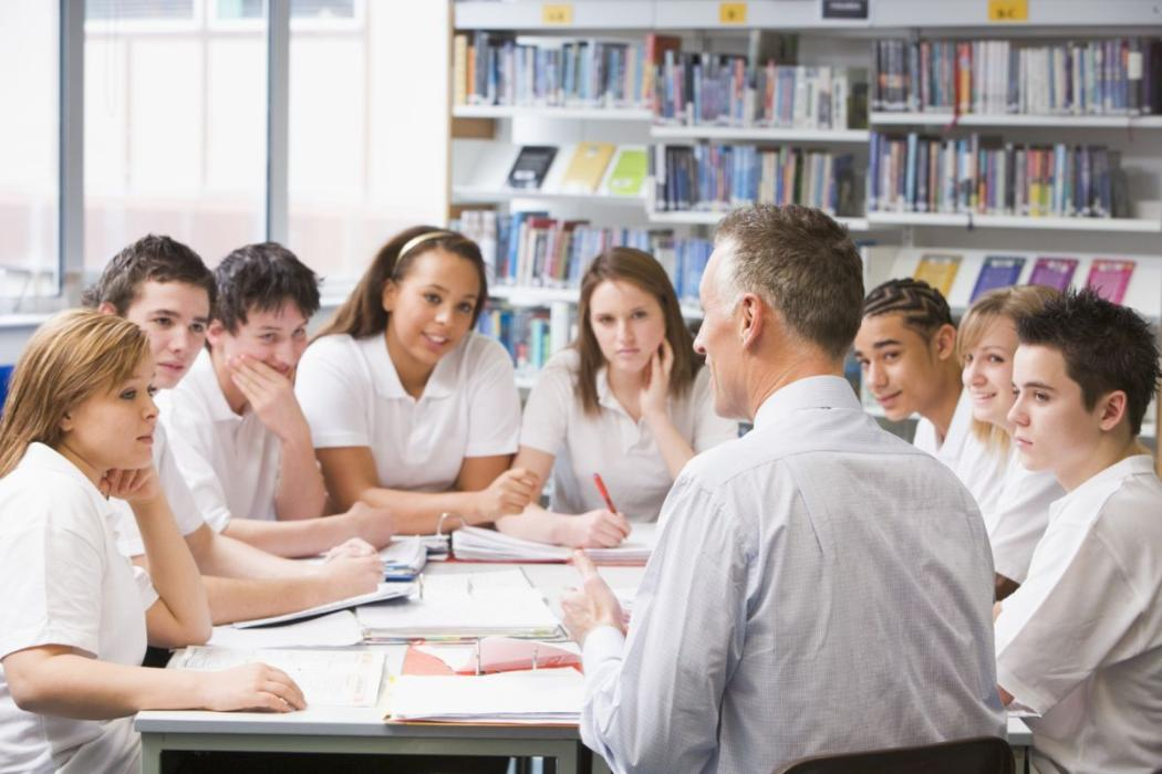 Secondary school students in library