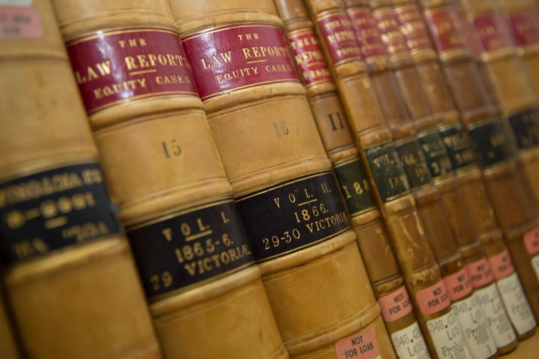 Close up of law reports on a shelf