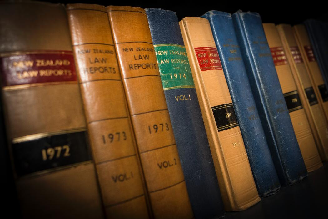 Angled view of Various law books on a shelf
