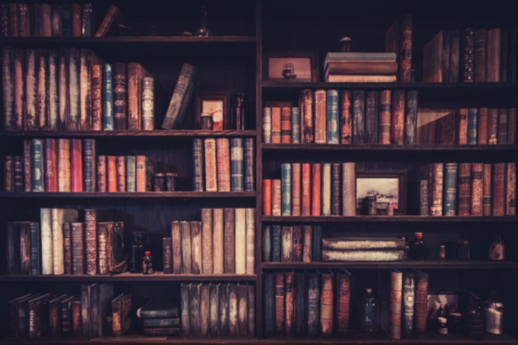 Old bookshelf with aged books