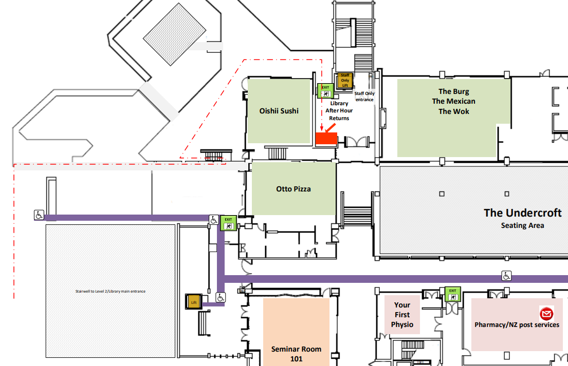 Central Library after hours returns box floor plan © University of Canterbury 2021