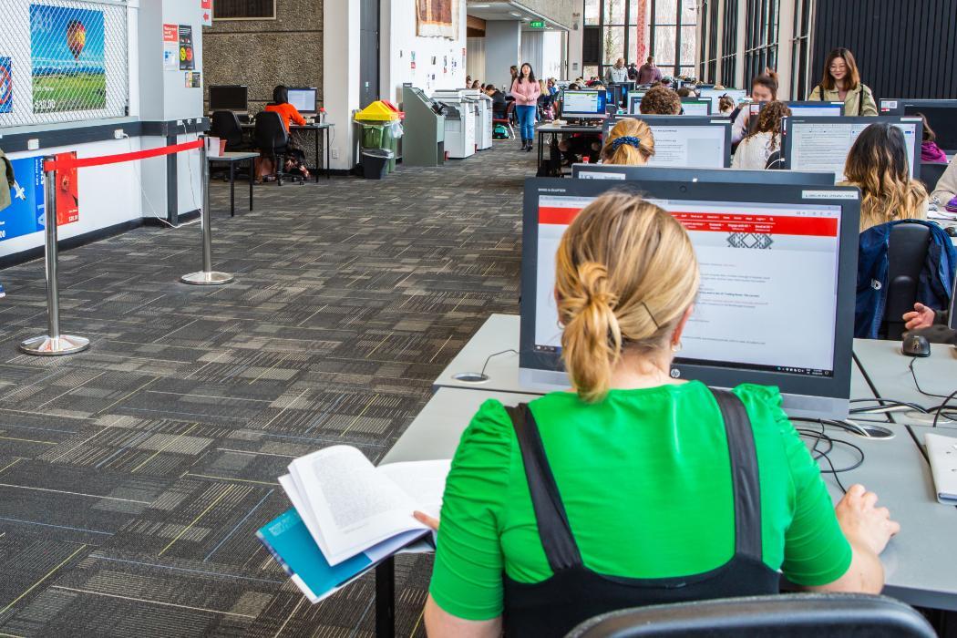 student using computer PJH