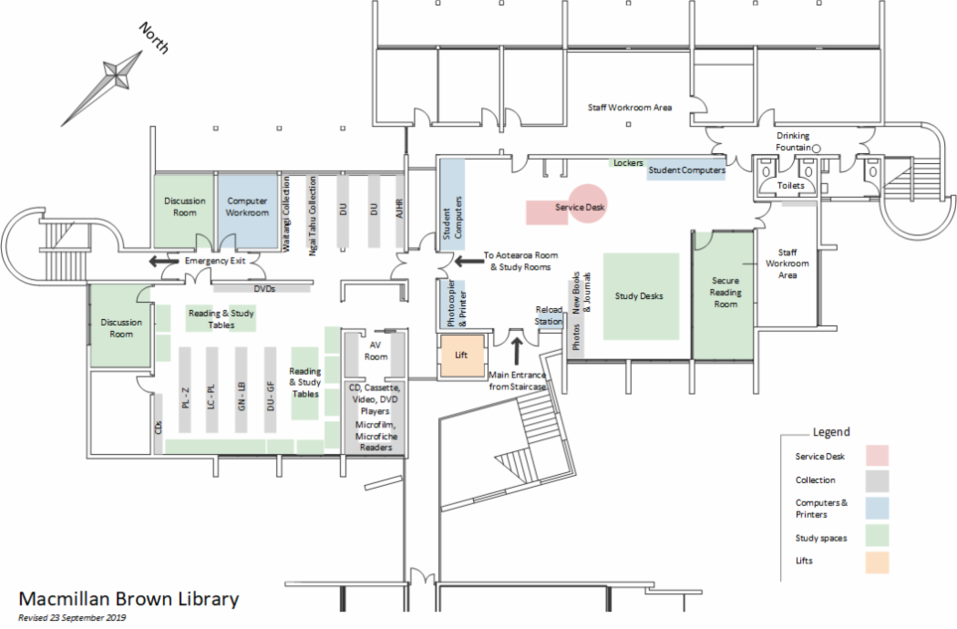 Macmillan Brown Library floor plan