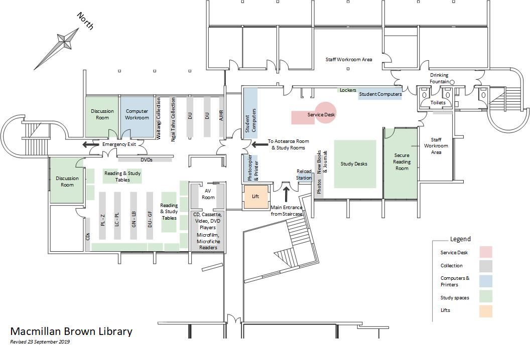 Macmillan Brown Library floor plan