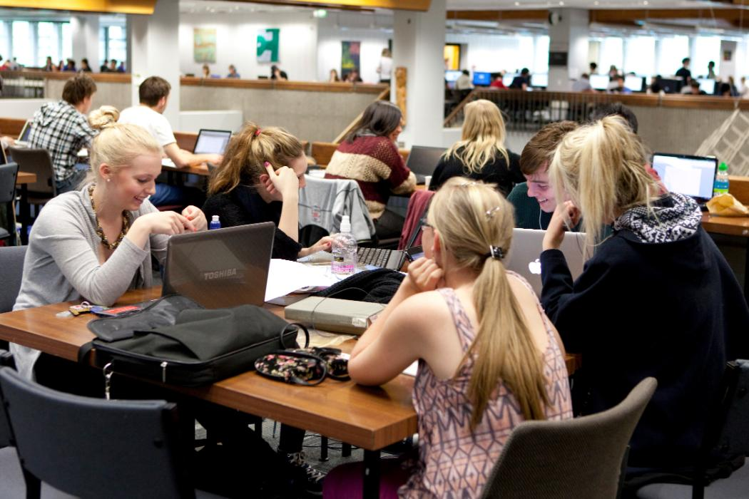 Students in group study area