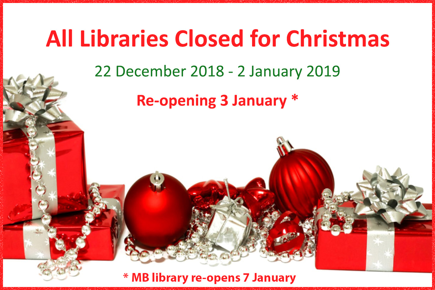 2018 All libraries closed for Christmas