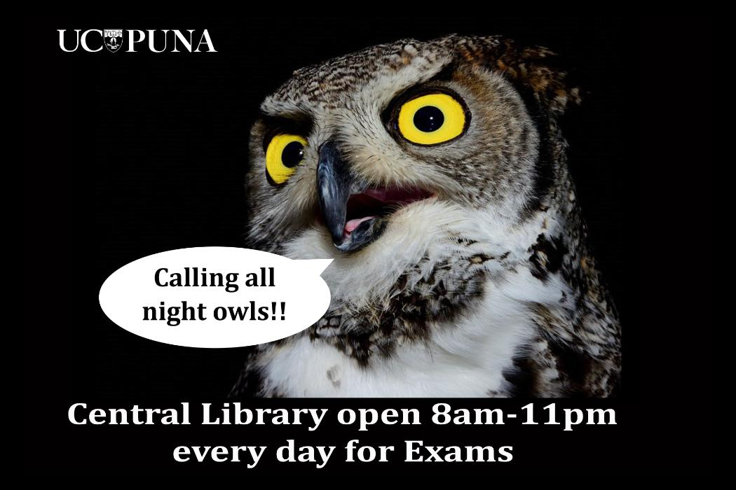 Central library extended hours exams