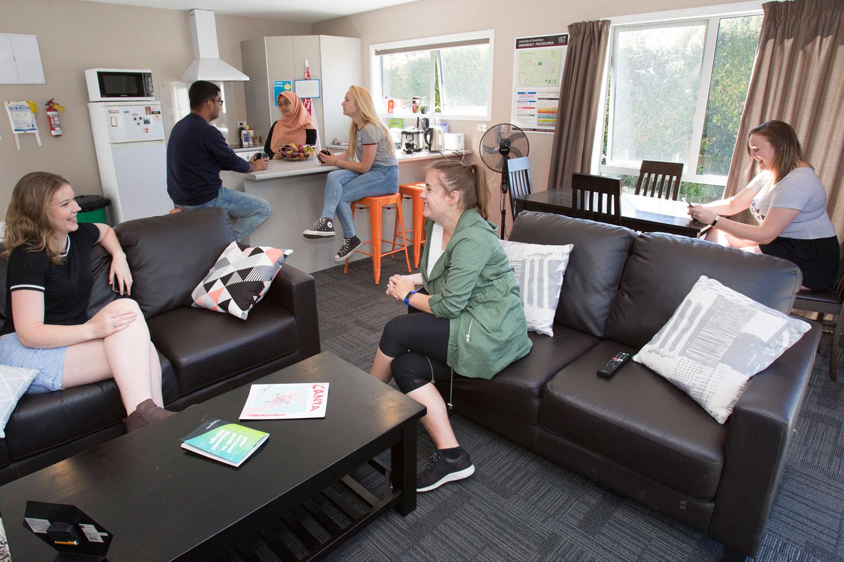 waimairi village students talking in lounge room