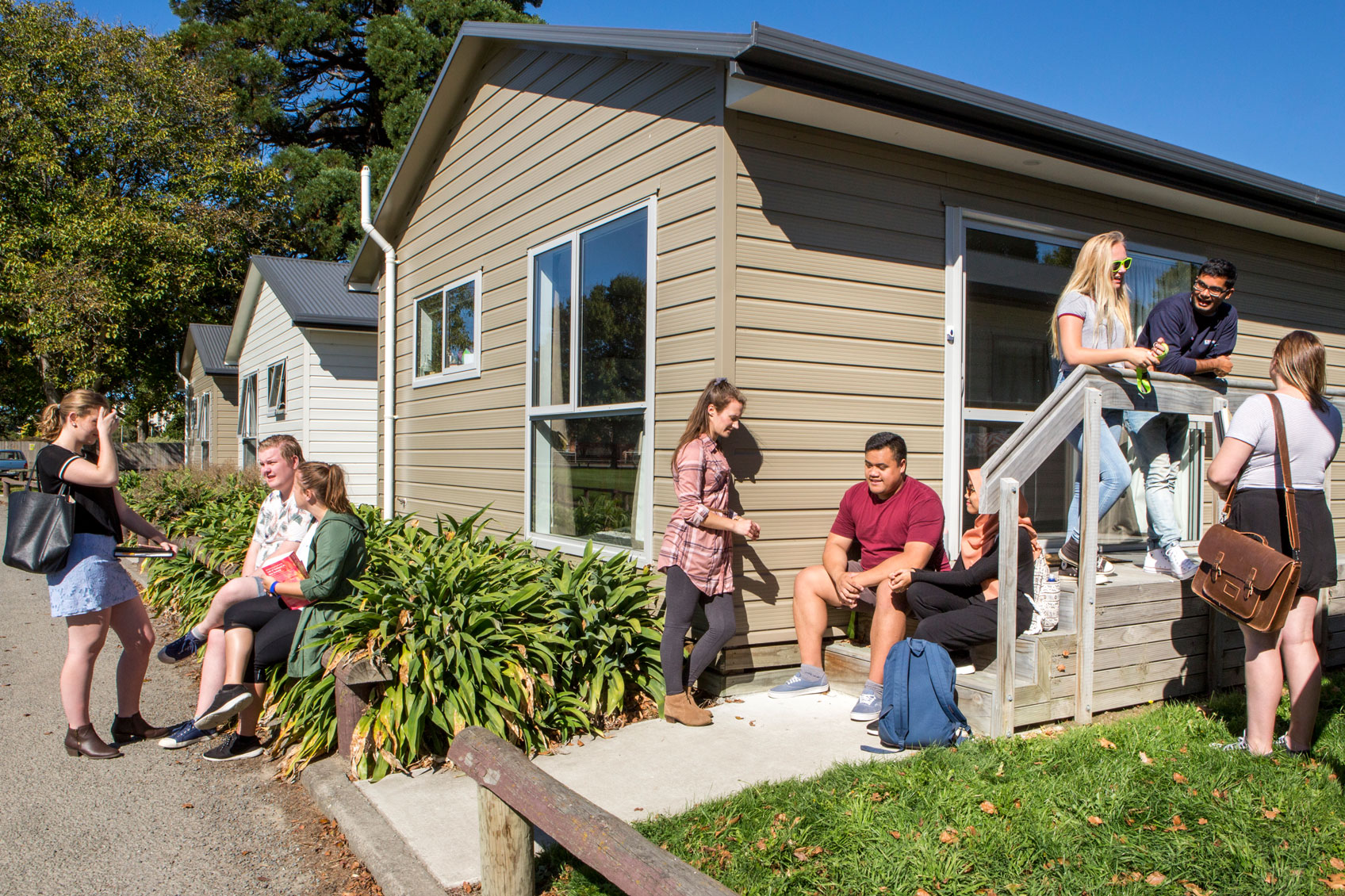 waimairi village students talking outside