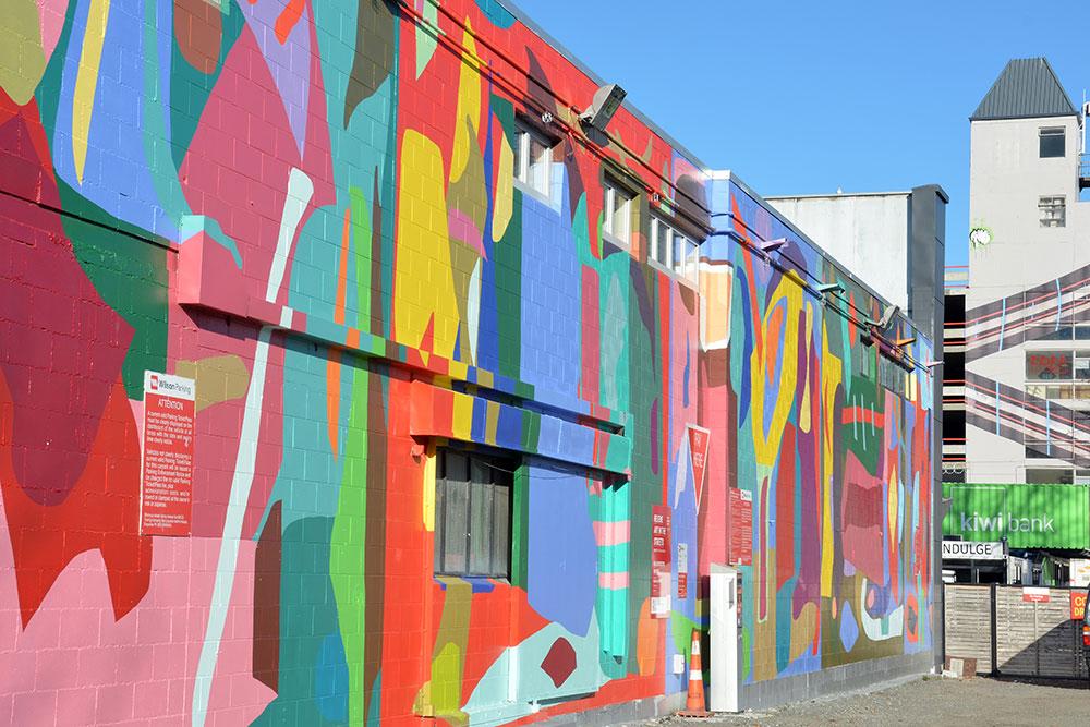 Christchurch Earthquake Rebuild - Gap Filler Wall Art Depositphotos 37888009