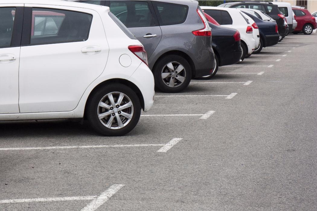 Cars in carpark in row