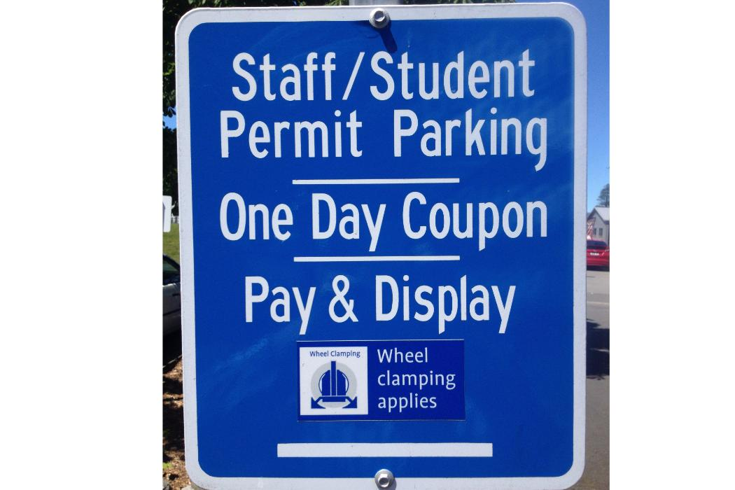 Staff student parking sign