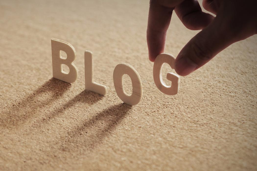 wooden letters spelling blog