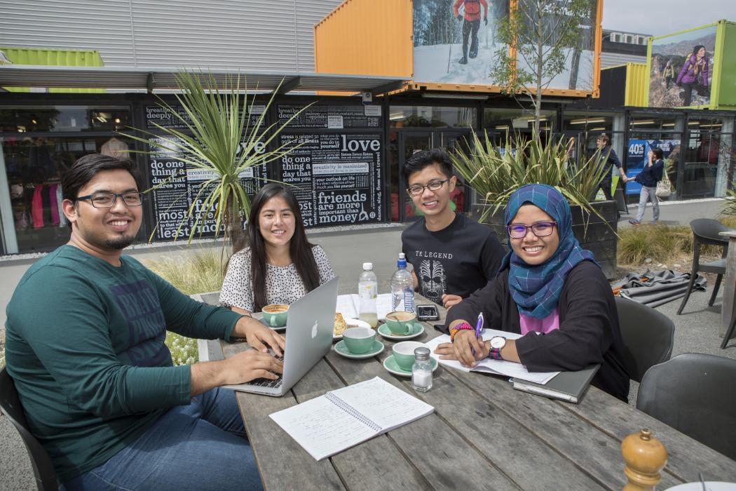 International students enjoying a coffee