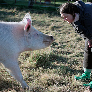 Cressida Wilson with Trotsky the pig