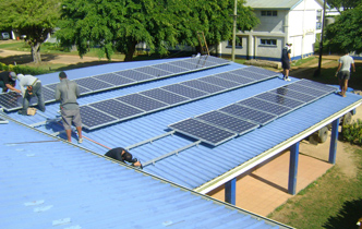 University students installing solar power  - Imported from Legacy News system