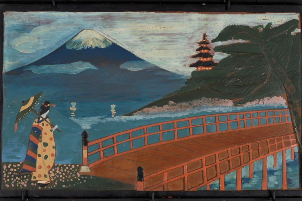 Figure viewing Mt Fuji, 1943-1945, colour on wood. Courtesy Featherston Heritage