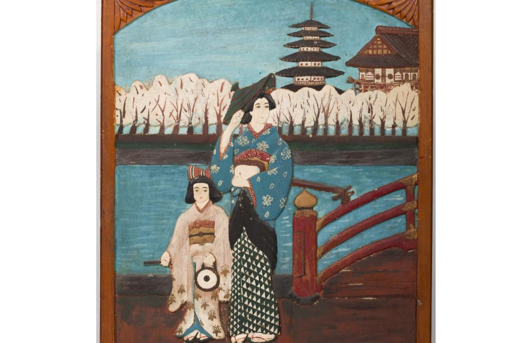 Entertainers in front of temple, 1943-1945, colour on wood. Courtesy Featherston