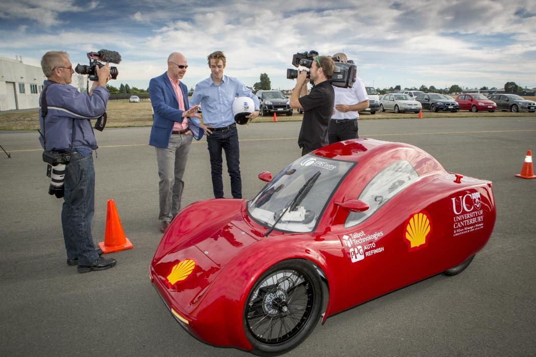 Rob Jager and Frank Sullivan being interviewed about Ecomarathon car