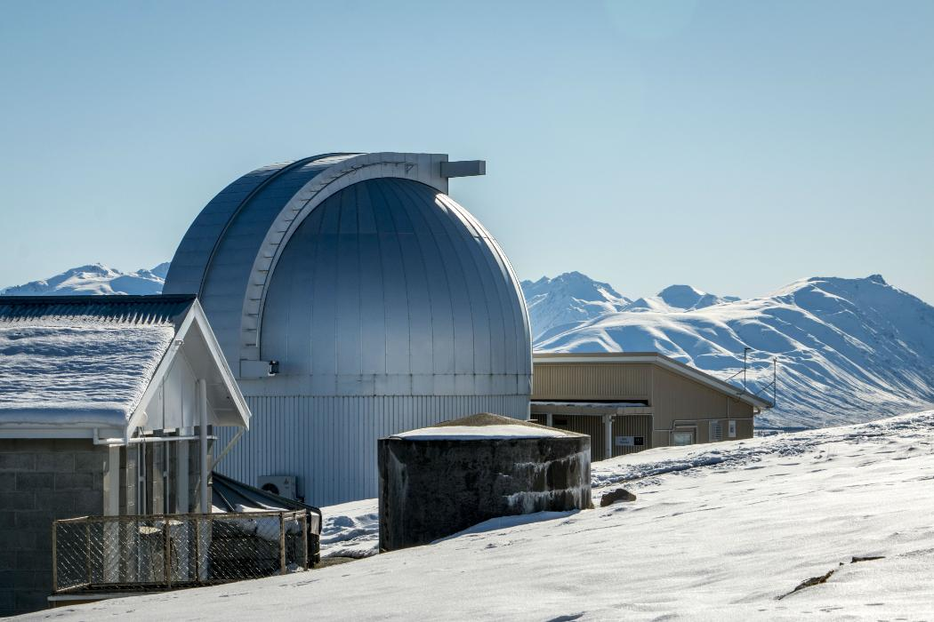 Mt John Observatory in snow
